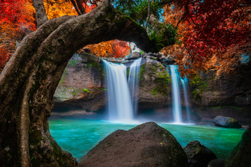 Fototapeta Drzewa The amazing colorful waterfall in autumn forest blue water and colorful rain forest.