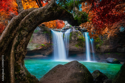 Wall Murals Waterfalls The amazing colorful waterfall in autumn forest blue water and colorful rain forest.