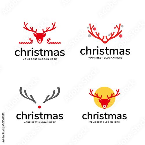 Valokuvatapetti set of christmas logo inspiration concept, with deer antler element,  vector des