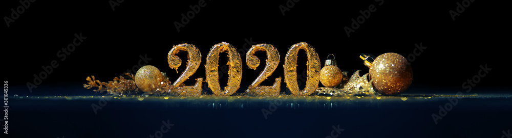 Fototapety, obrazy: 2020 in sparkling gold numbers celebrating the New Year or Christmas with glittering ornaments and decorations