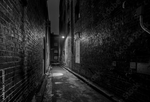 eerie old back street at night
