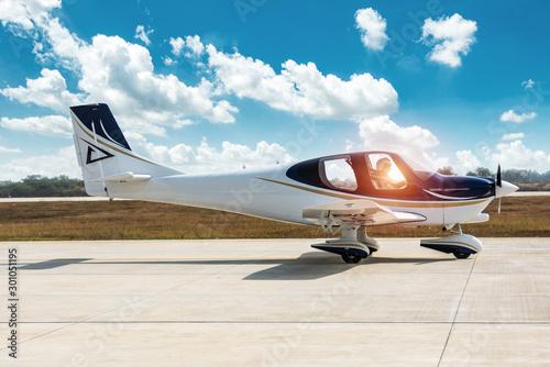 Canvastavla  GA20 aircraft taxiing off on airport runway