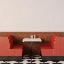 Retro Cafe Interior.