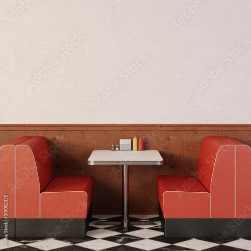 Retro cafe interior. Wallpaper Mural