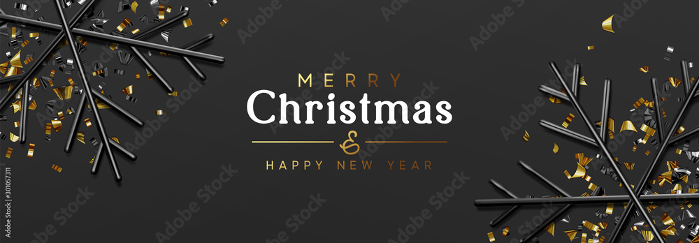 Fototapety, obrazy: Holiday banner Merry Christmas and Happy New Year. Dark background with glitter gold confetti, 3d render black snowflakes. Minimal Xmas design. Horizontal poster, greeting cards, headers, website