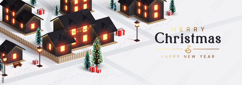 Fototapety, obrazy: Christmas night city. The houses and street are lit by lanterns. New Year's town from the cottage houses. Festive horizontal banner, web poster, greeting card, cover. Holiday illustration