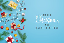 Christmas And Happy New Year Greeting Card Composition Of Elements With Christmas Decorations.
