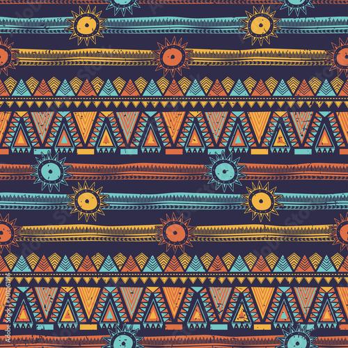 Photo Bohemian ethnic seamless pattern with tribal stripes