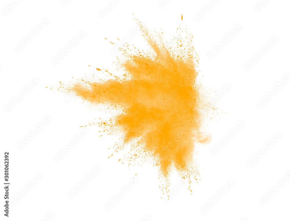 Fototapeta Yellow explosion brush. Yellow watercolor explosion isolated on white background