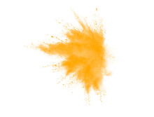 Yellow Explosion Brush. Yellow Watercolor Explosion Isolated On White Background
