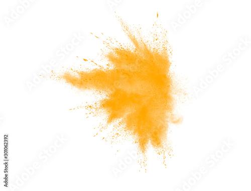 Fototapeta Yellow explosion brush. Yellow watercolor explosion isolated on white background obraz