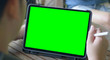 canvas print picture - Tablet computer with green screen.