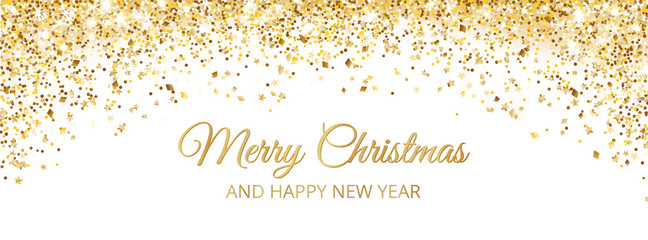 Merry Christmas and New Year card design. Gold glitter decoration