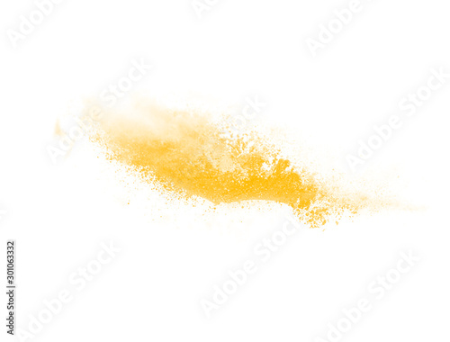 Fototapeta Abstract yellow watercolor explosion in motion isolated on white