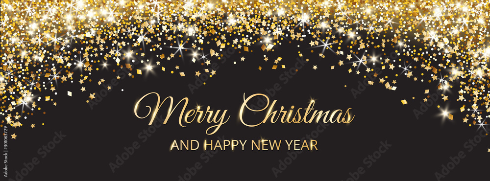 Fototapety, obrazy: Merry Christmas and New Year card design. Gold glitter decoration on black background