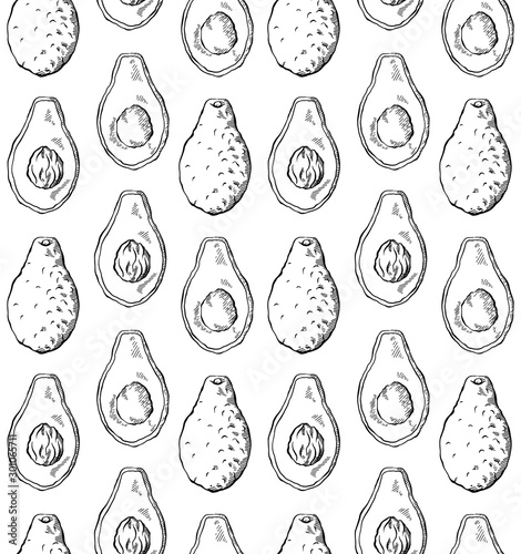 seamless-pattern-with-avocado-sketch-in-row-on-white-background-engraving-illustration-with-hatching-healthy-keto-diet-vector-texture-for-wallpapers-fabrics-backgrounds-and-your-design