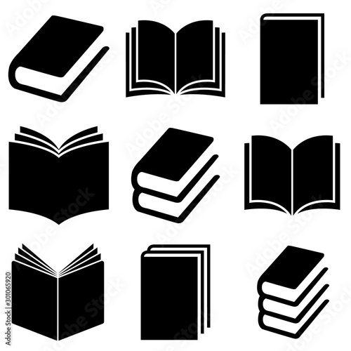 Book set icon, logo isolated on white background