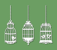 Set Of Laser Cut Template Of Birdcages. Openwork Silhouette Of Cages For Birds With Lace Ornament. Decoration For Paper Cutout. Design For Laser Or Die Cutting. Vector Illustration On Green Background