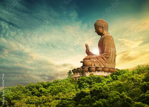 buddha statue lantau island hong kong Canvas Print