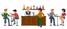People Drink Beer At Tables Wi...
