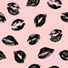 Lips Print Seamless Pattern. Valentine Day. Pink Cosmetic Background. Vector Illustration