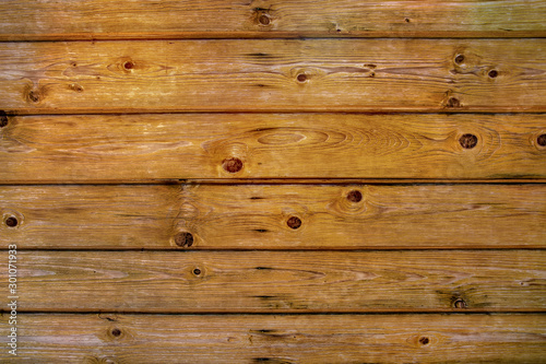 Brown background of boards. Wooden brown background. Wallpaper Mural