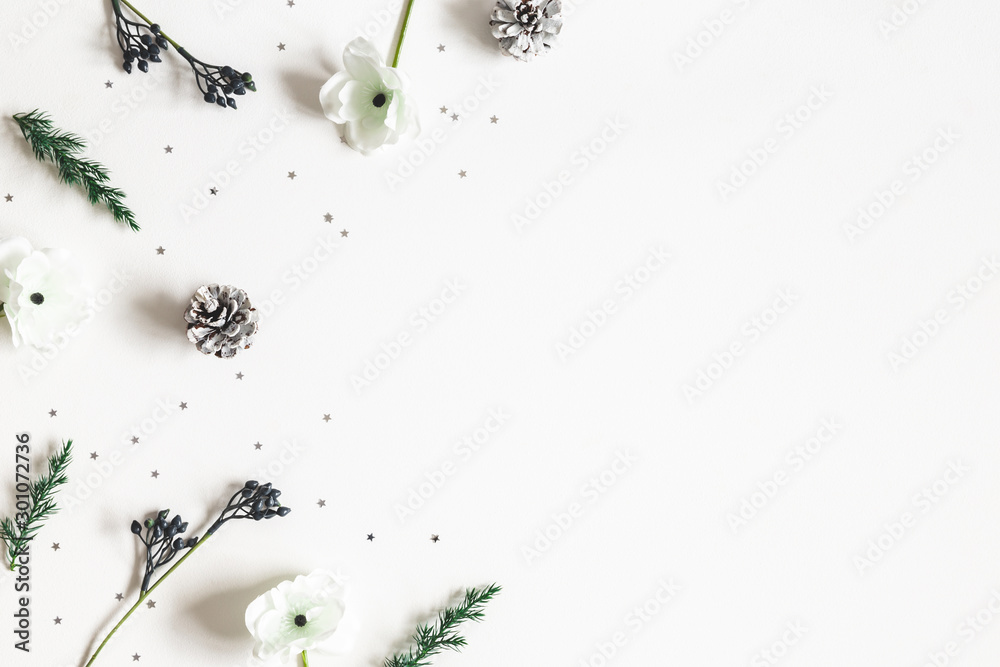Fototapeta Christmas composition. Frame made of winter plants on white background. Christmas, winter concept. Flat lay, top view, copy space