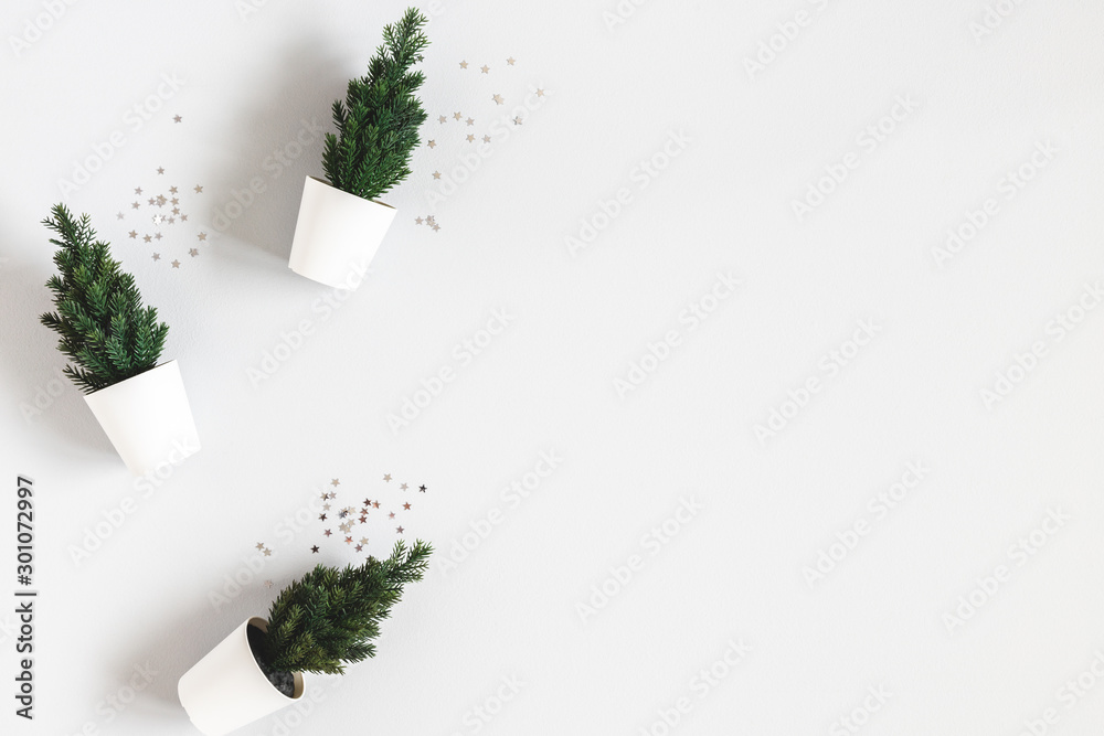 Fototapety, obrazy: Christmas tree on gray background. Christmas, winter, new year concept. Flat lay, top view