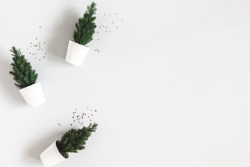 Christmas tree on gray background. Christmas, winter, new year concept. Flat lay, top view