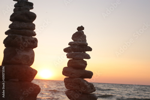 Photo sur Toile Zen pierres a sable beautiful sunrise by the sea, flora and fauna of ocean life, background water and sunset romantic mood
