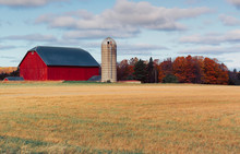 Typical Old Wooden Red Barn And Silo In The Countryside Field. Autumn Season With Colorful Trees