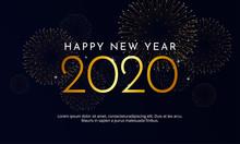 Happy New Year 2020 Golden Typ...