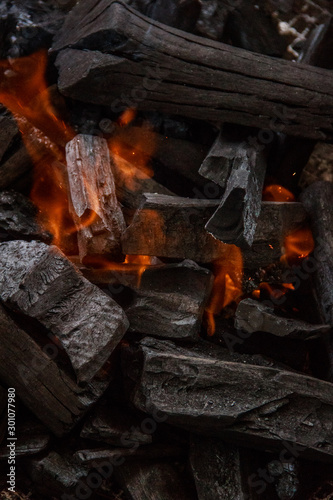 Door stickers Firewood texture Charcoal burns in the grill