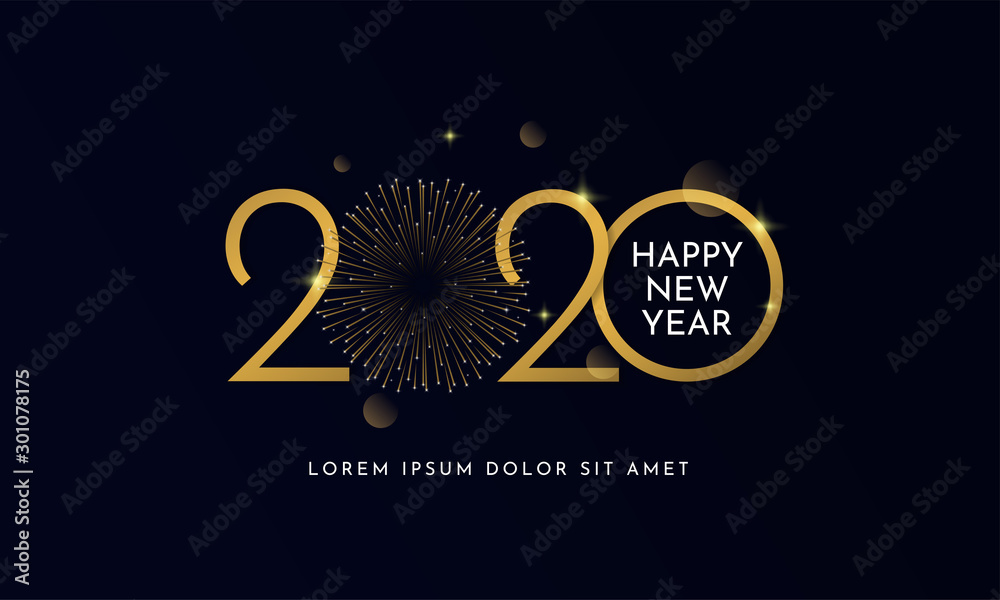 Fototapety, obrazy: Happy new year 2020 typography text celebration poster design. glowing golden number with gold fireworks explosion element and dark sky background vector illustration.