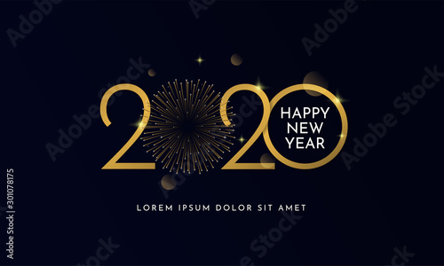 Fototapeta Happy new year 2020 typography text celebration poster design. glowing golden number with gold fireworks explosion element and dark sky background vector illustration. obraz