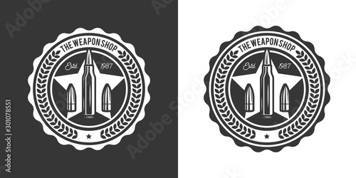Original monochrome vector emblem with the image of combat bullets in retro style Canvas Print