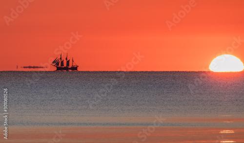 Poster Baksteen sonnenaufgang am meer