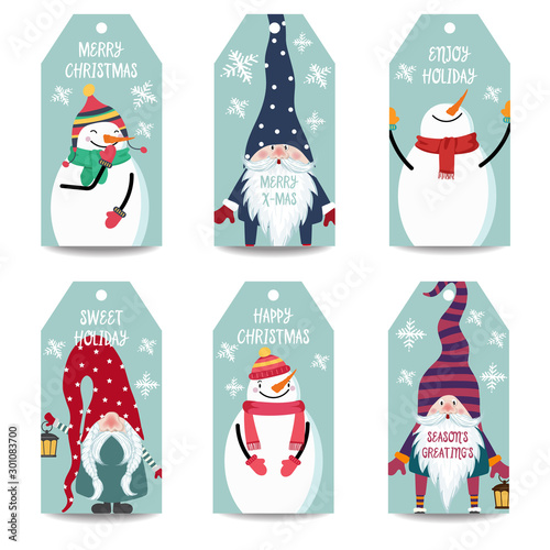 Christmas labels collection with snowman and gnomes isolated items on white background, © Claudia Balasoiu