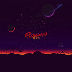 Original vector illustration in retro style. Sunrise on the background of the cosmic sky with planets and stars.