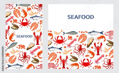 Fototapeta flyers with seafood obraz