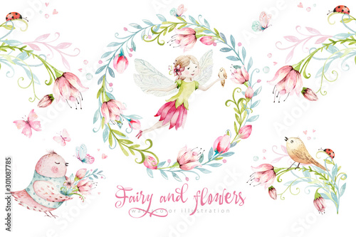Cute Fairy character watercolor illustration on white background Fototapet