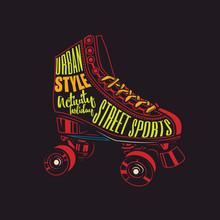 Original Vector Abstract Illustration. Neon Roller Skates.