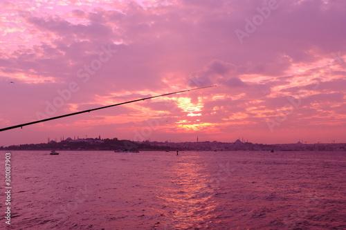 Wall Murals Candy pink İstanbul Bosphorus Sunset, Turkey