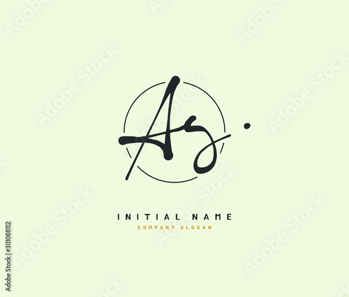 Photo A G AG Beauty vector initial logo, handwriting logo of initial signature, wedding, fashion, jewerly, boutique, floral and botanical with creative template for any company or business