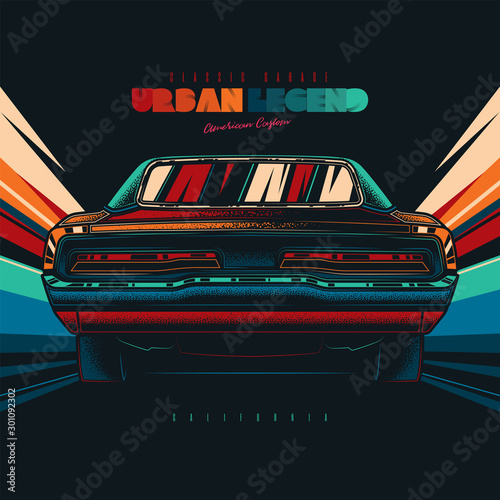 Fototapeta Original vector retro print car on abstract background rides on road. The American muscle car. T-shirt design obraz