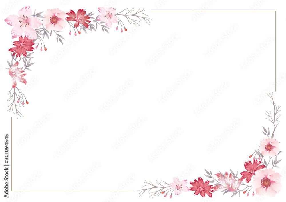 Fototapeta 水彩風 花のフレームイラスト