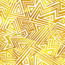 Gold Color Maze Seamless Patte...