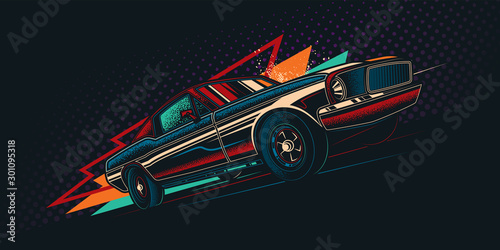 Fotomural Original vector retro print car on abstract background rides on road