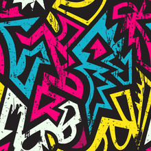 Graffiti Geometric Seamless Pattern.