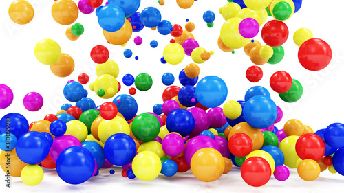 Heap of Colored Balls Falling on white background. 3D Rendering